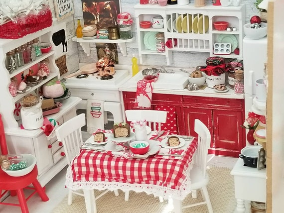 Miniature Red and White Tablesetting, Table and Chairs and Accesories 1:12 dollhouse scale