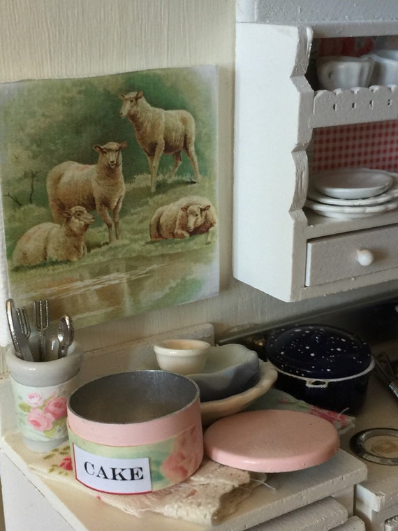 Miniature canvas Sheep Farm Farmhouse Sign Scene 1:12 scale