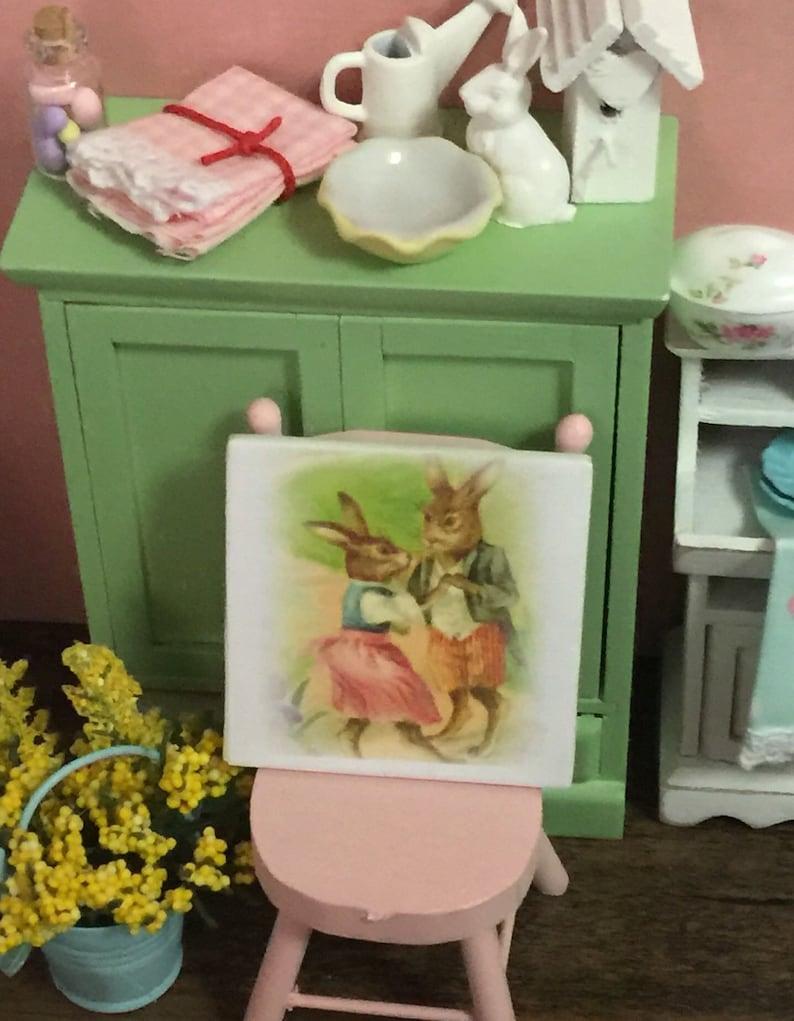 Miniature Spring Vintage Rabbit Couple Canvas picture-dollhouse scale
