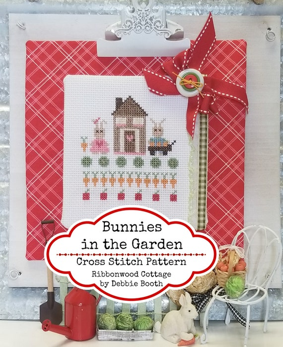 Bunnies in the Garden Cross Stitch Pattern - Immediate Download