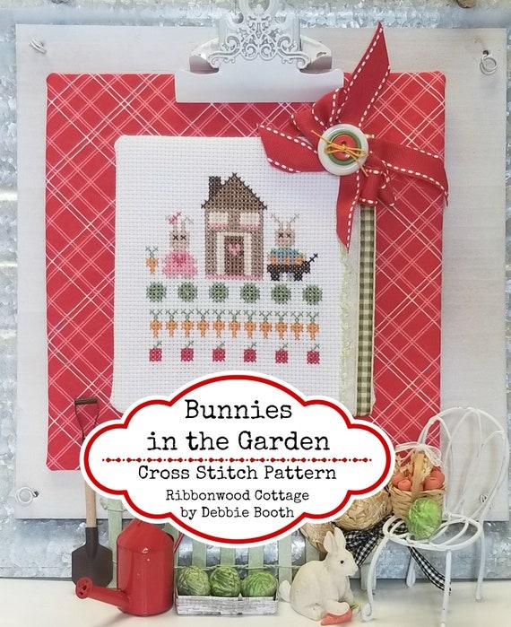 Bunnies in the Garden Cross Stitch Pattern - Immediate Download
