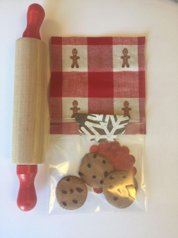 """Pretend Play Chocolate Chip Cookies, Rolling Pin and Napkin -18"""" sized Doll bakery items"""