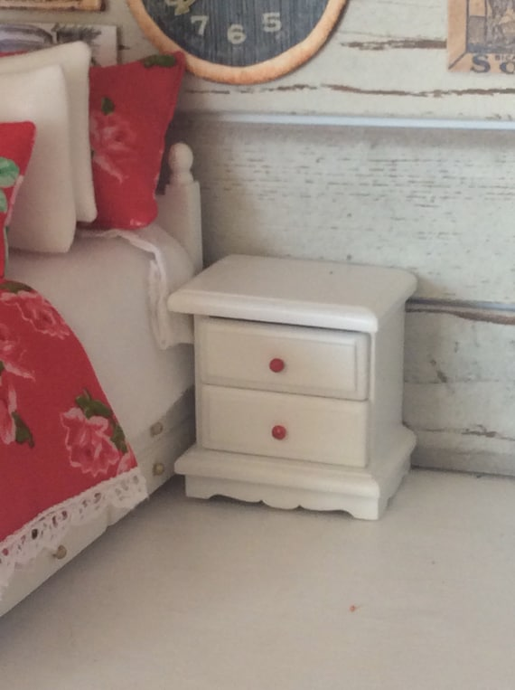 Miniature White Nightstand with Hand painted Red knobs