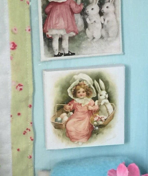 """Easter Bunny and Girl in Pink - 2"""" x 2"""" canvas"""
