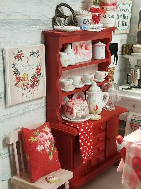 Miniature Shabby Red China Hutch and Dishes, Accessories