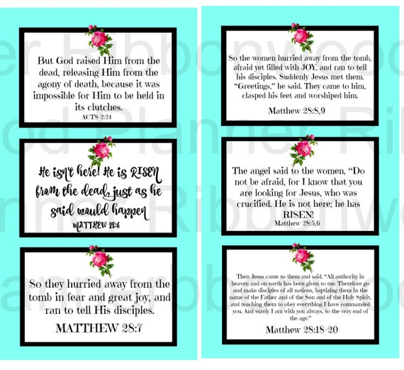 Easter He is Risen Bible Journal Cards Digital Download