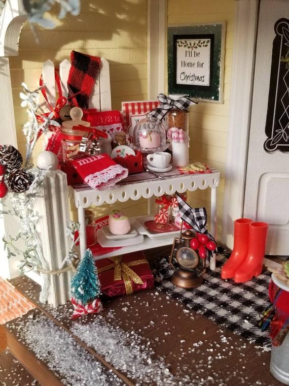 Miniature Christmas Hot Cocoa Bar Dollhouse Furniture
