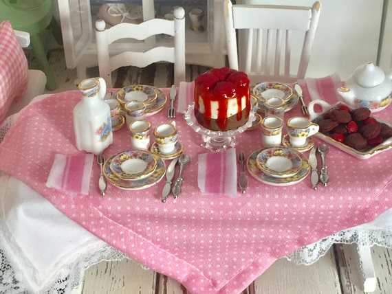Miniature Dollhouse Table, China Tablesetting, Table Linens and 2 Farmhouse Chairs