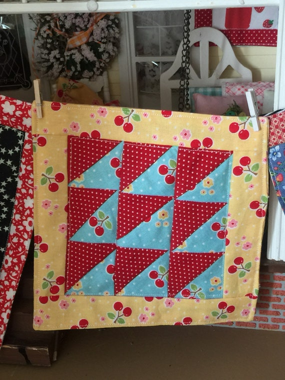 Miniature Cherry  triangle patchwork Quilt and 2 pillows