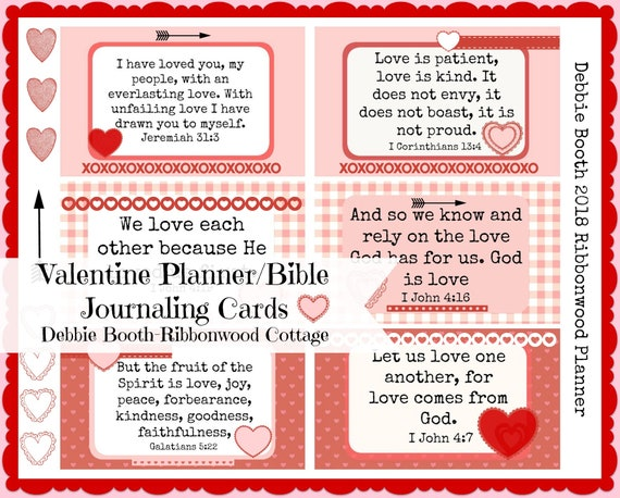 Valentine Planner Scripture Journaling Cards - Digital Download
