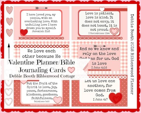 Valentine Planner Scripture Journaling Cards - Digital Download