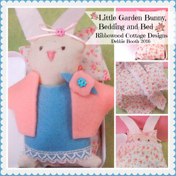 "Sewing Pattern PDF Little Felt Garden Bunny, Wardrobe, Bedding and Bed  3"" doll Pattern"