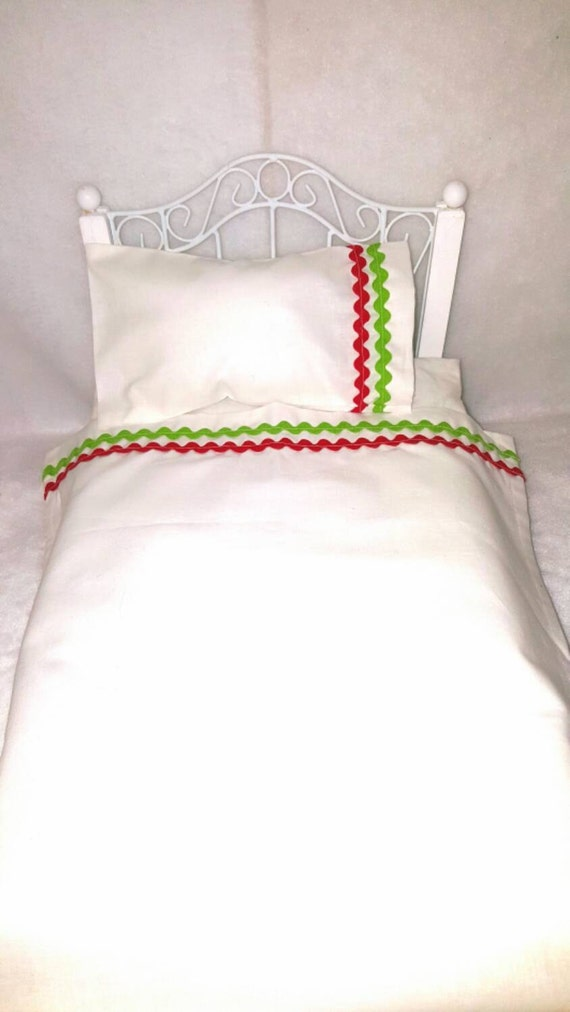 18 inch Girl Doll sized White Sheet Set With Rick Rack
