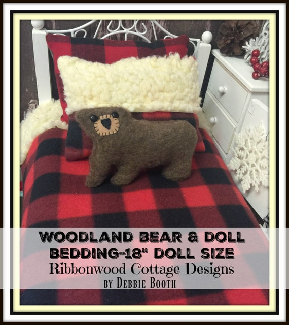 "Sewing Pattern- Doll Bedding Woodland Bear -18"" Girl Doll Bedding size PDF"