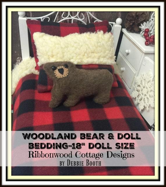 "Sewing Pattern- Doll Bedding Woodland Bear -18"" Girl Doll Bedding size PDF"