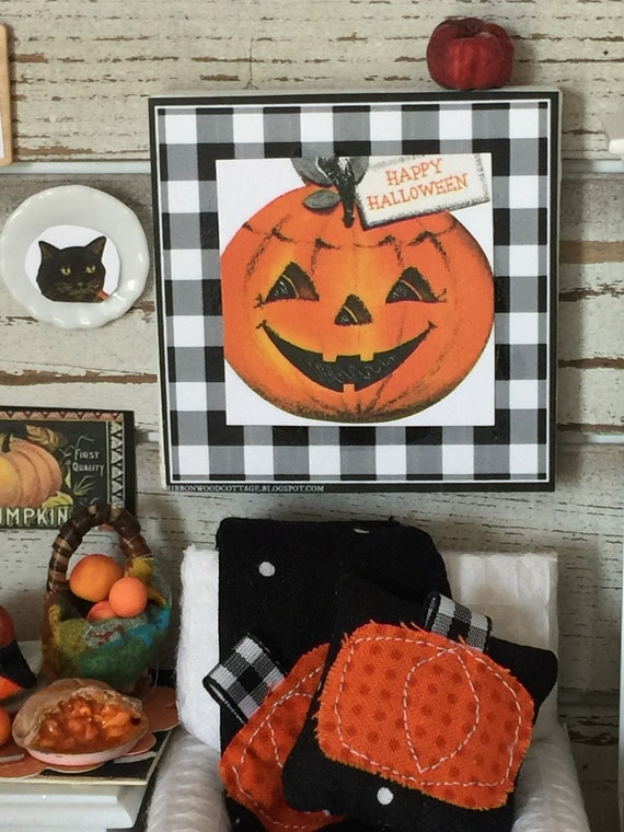 "Miniature Halloween Pumpkin Art Canvas 2 1/2"" x 2 1/2"""