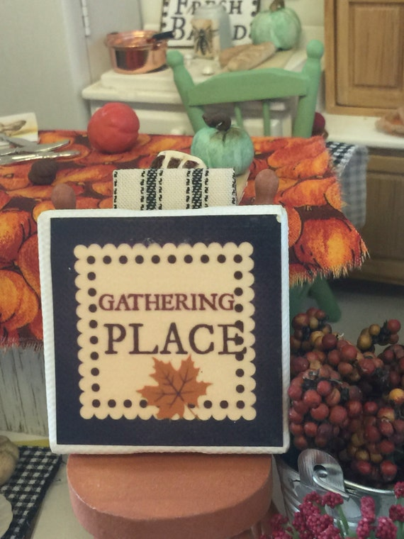 "Miniature Gathering Place Fall Canvas Sign 2""x2"""