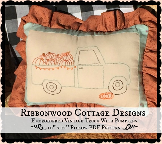 "PDF Embroidery Pattern Vintage Aqua Truck with Pumpkins-10"" x 12"" Pillow Pattern PDF"