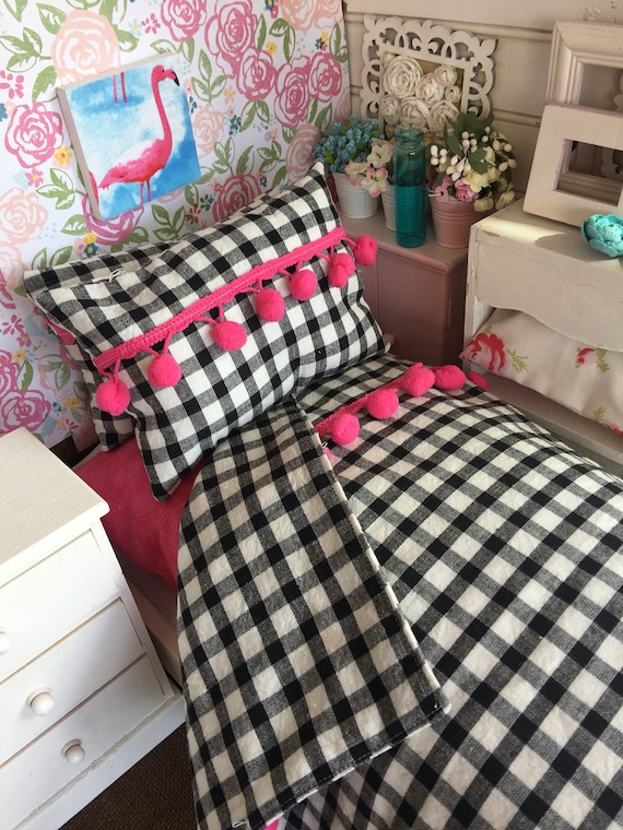 18 inch Girl Doll Pink and Black Comforter, Mattress and Pillow