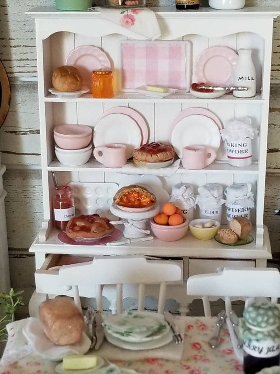 Shabby Style Miniatures -China Hutch, Dishes and Handmade Food Accessories
