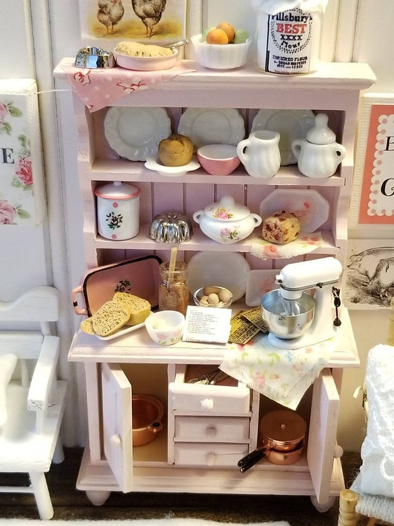 Shabby Style Handpainted Miniarure China Hutch and Accessories - Dollhouse Scale