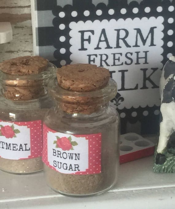 Miniature Dollhouse Glass Jar Brown Sugar Canister