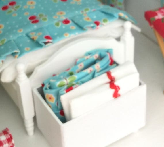 Miniature Blanket Chest with Sew Cherry Fabric Comforter and two pillowcases-Miniature