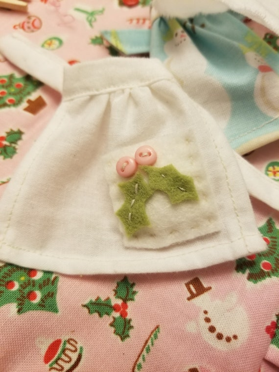 Miniature Christmas Apron- handstitched Holly and Berries