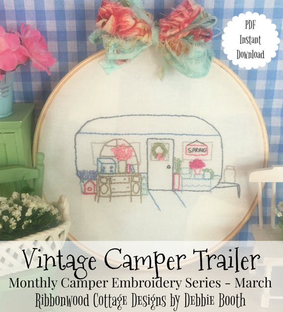 "March Monthly Vintage Camper Trailer Embroidery Series - 6"" Hoop and Quilt Art"