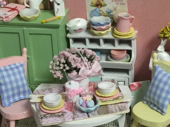 Spring Pastel Luncheon and Cookies Prep Board-1:12 Dollhouse Miniature