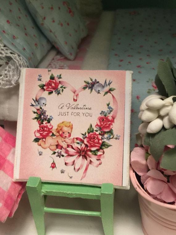 "Miniature Valentine Art- Vintage style Canvas 2"" x 2"""