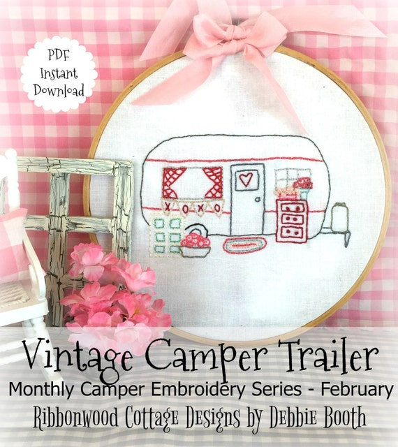 February Monthly Vintage Camper Trailer Embroidery Series - Hoop and Quilt Art