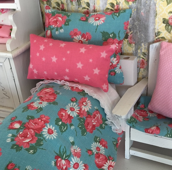 "Doll Bedding Set  and Mattress- Vintage Style Aqua and Pink Floral  11"" doll sized bedding"