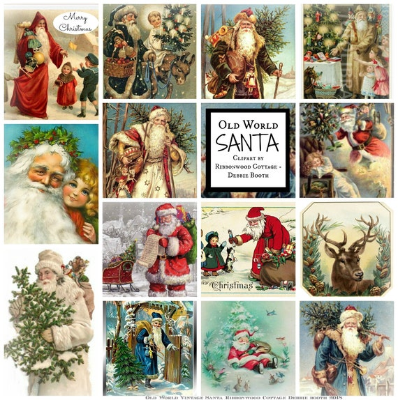 Old World Vintage Santa Clipart - Immediate Download