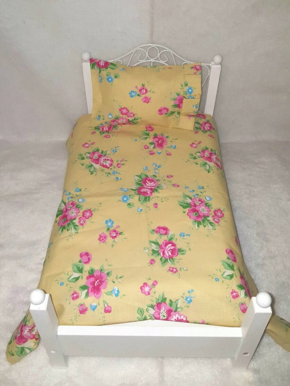18 inch Girl Doll sized, Yellow Floral, Vintage Look, Sheet Set