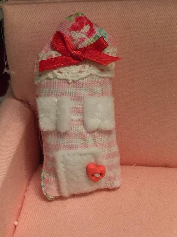 Miniature Pink Pastel House Pillow