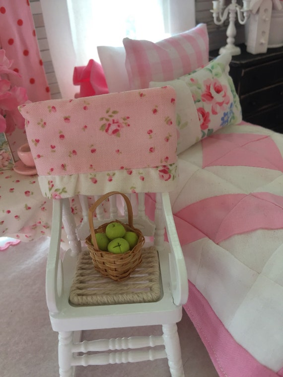 Miniature White Rocking Chair, Cover and Basket if Apples -