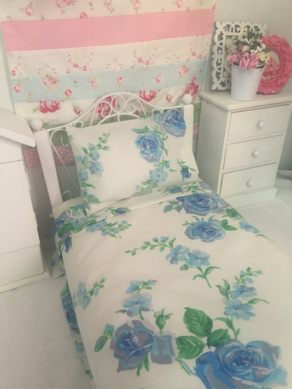 18 inch Girl Doll sized Vintage Blue Roses Sheet set