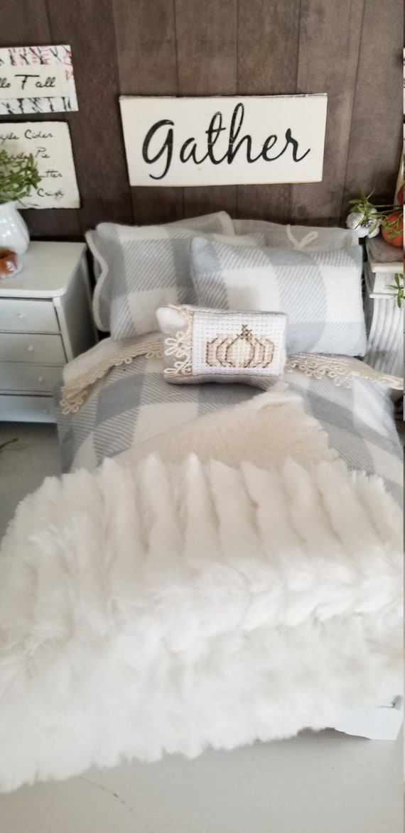Miniature Fall Gray and Cream Flannel Bedding, Cross Stitched Pumpkin Pillow  and Hand painted White Sleigh Bed