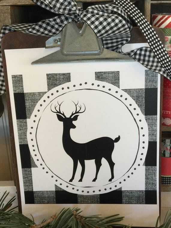 Black and White Buffalo Check Reindeer Printable - Immediate Download