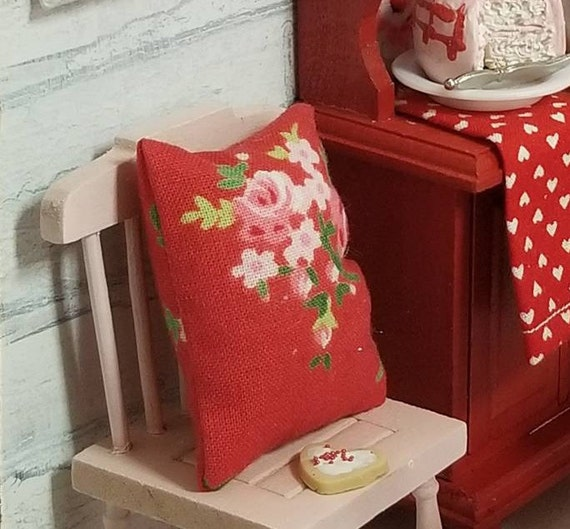 Pink wooden dollhouse Chair, Red Pillow and Valentine sugar cookie