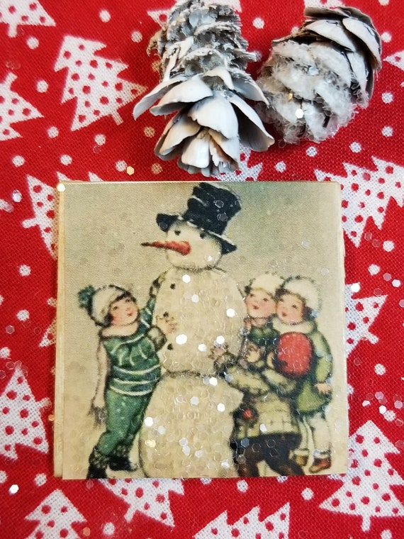 Miniature Snowman and Children Vintage Art Sign