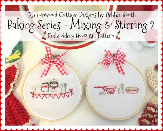 PDF Embroidery pattern Baking Series - Mixing and Stirring 2 Hoop Art
