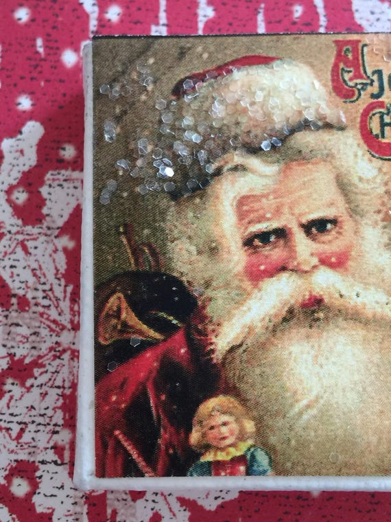 "Vintage Old Workd Style Santa Christmas Art Glitter Canvas-2"" x 2"""