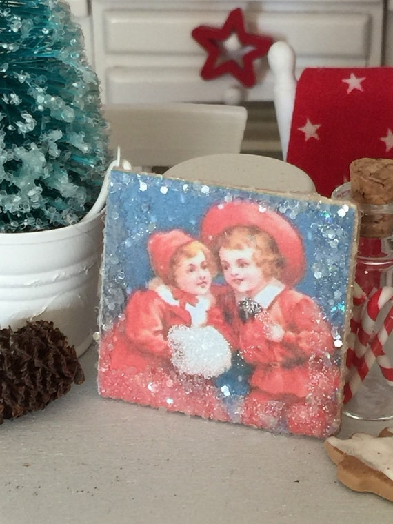 Vintage Children in Red and White Christmas picture-dollhouse miniature