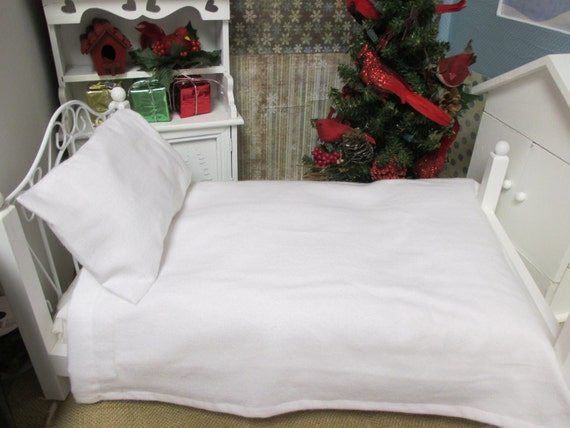 Doll 18 inch doll sized White Flannel Sheet and Pillow Set