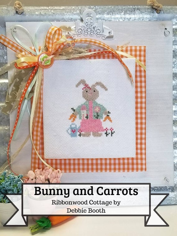 Spring Bunny and Carrots Cross Stitch pattern digital download