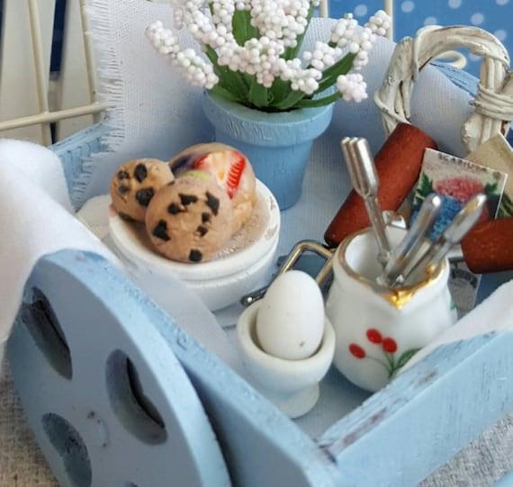 Miniature Vintage  Wagon Gardening Breakfast-1:12 Dollhouse Miniatures