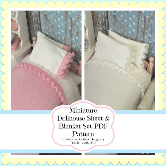 Sewing Pattern PDF  Miniature Dollhouse Pom Pom Sheet & Blanket Set  Pattern-1;12 scale