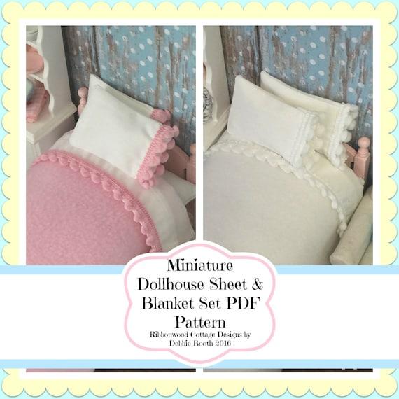 Sewing Pattern PDF  Miniature Dollhouse Pom Pom Sheet & Blanket Set  Pattern-1;12 scale